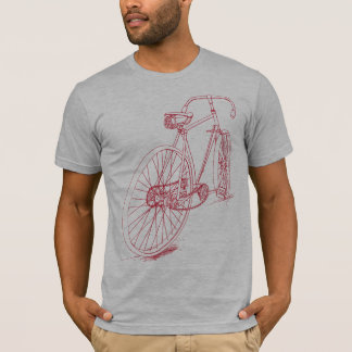 Retro Bicycle drawing design in red T-Shirt