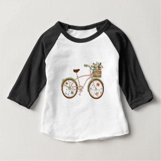 Retro bicycle with karzinkoy for flowers baby T-Shirt