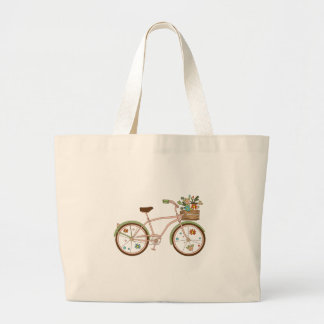 Retro bicycle with karzinkoy for flowers large tote bag