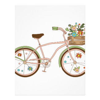 Retro bicycle with karzinkoy for flowers letterhead