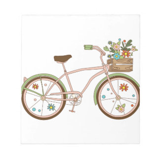 Retro bicycle with karzinkoy for flowers notepad