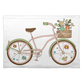 Retro bicycle with karzinkoy for flowers placemat