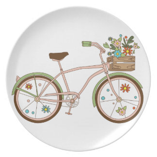 Retro bicycle with karzinkoy for flowers plate
