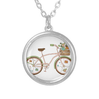 Retro bicycle with karzinkoy for flowers silver plated necklace