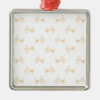 Retro Bicycles Motif Vintage Pattern Silver-Colored Square Ornament