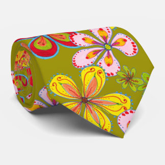 Retro Big Flowers Art Colorful Novelty Tie