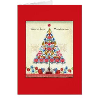 Retro Bilingual Polish American Christmas Card