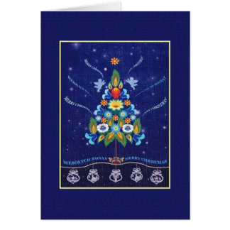 Retro Bilingual Polish English Christmas Card