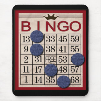 Retro Bingo Card with Chips Fun and Games Mouse Pad