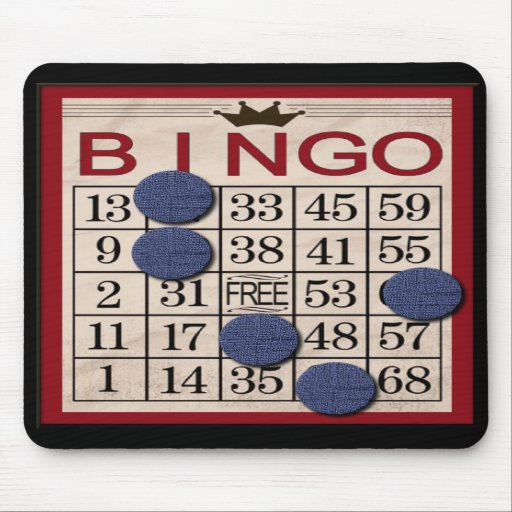 Retro Bingo Card with Chips Mouse Pads