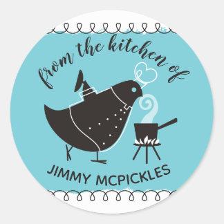 Retro bird chef aromas from the kitchen of sticker