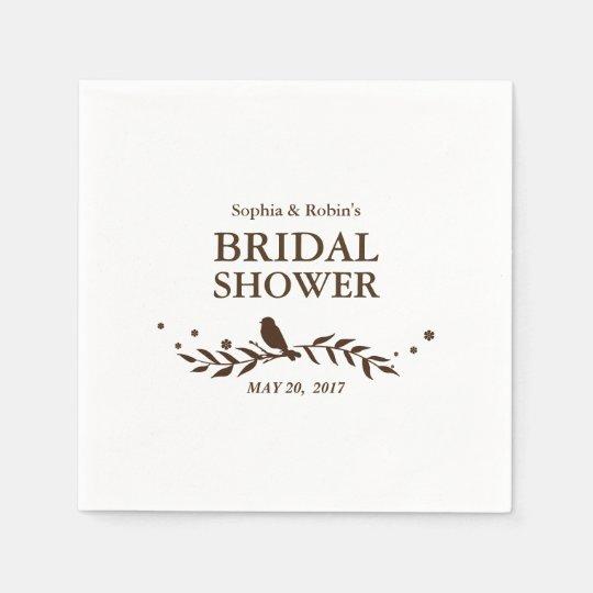 Retro Bird Leaves Bridal  Shower Napkin Disposable Napkin