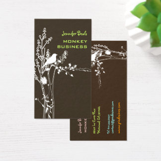 Retro bird on a branch/DIY background/brown Business Card