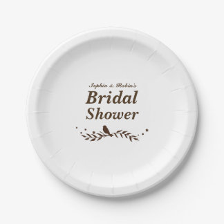 Retro Bird on Leaf Wedding Shower Paper Plate