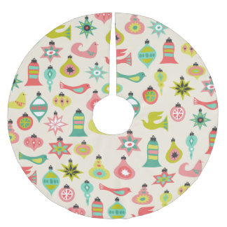 Retro Birds and Ornaments Tree Skirt