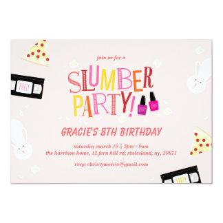 "Retro Birthday Slumber Party 5"" X 7"" Invitation Card"
