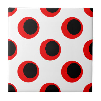 Retro Black and Red on White Polka Dot Pattern Tile
