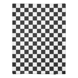 Retro Black And White Checkered Pattern Duvet Cover