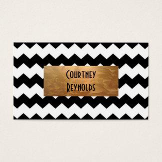 Retro Black and White Chevron Pattern Copper Business Card