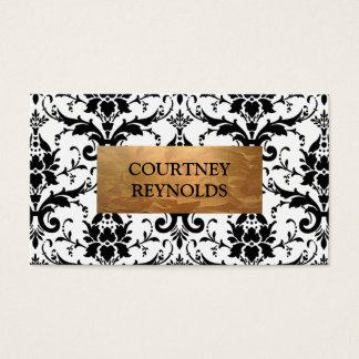 Retro Black and White Damask Pattern Copper Business Card