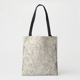 retro black and white drawing of heads tote bag