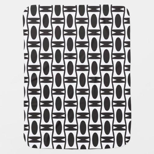 Retro black and white ovals baby blanket