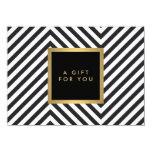 "Retro Black and White Pattern Glam Gold Gift Cert 4.5"" X 6.25"" Invitation Card"