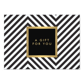 Retro Black and White Pattern Glam Gold Gift Cert Card