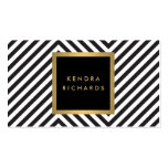 Retro Black and White Pattern Glam Gold Name Logo Double-Sided Standard Business Cards (Pack Of 100)