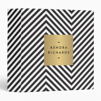 Retro Black and White Pattern Gold Name Binder