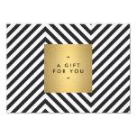 "Retro Black and White Pattern Gold Name Gift Cert 4.5"" X 6.25"" Invitation Card"