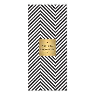 Retro Black and White Pattern Gold Name Logo 2 Custom Rack Card