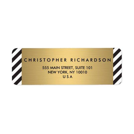 Retro Black and White Pattern Gold Name Logo Return Address Label