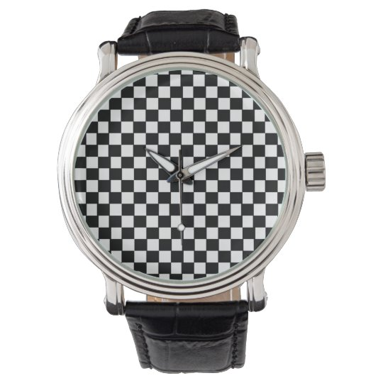 retro black and white pattern wrist watches