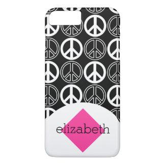 Retro Black and White Peace Sign Name iPhone 7 Plus Case