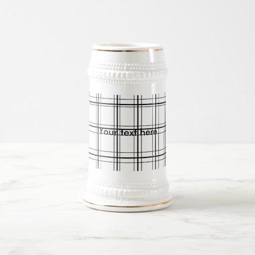 Retro black and white plaid mug