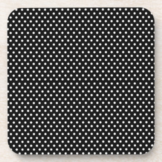Retro black and white polka dot coasters