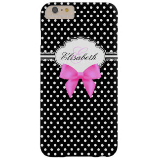 Retro black and white polka dot pink bow monogram barely there iPhone 6 plus case
