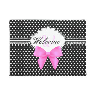 Retro black and white polka dot pink bow monogram doormat