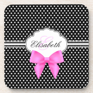 Retro black and white polka dot pink bow name drink coasters