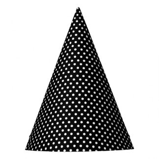 Retro black and white polka dots party hat