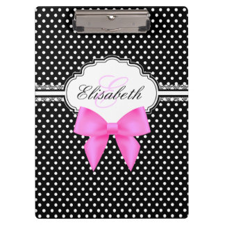 Retro black and white polka dots pink bow monogram clipboards