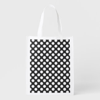 Retro Black and White Polka Dots Reusable Grocery Bags