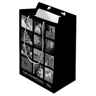 Retro Black and White Twelve Image Photo Collage Medium Gift Bag