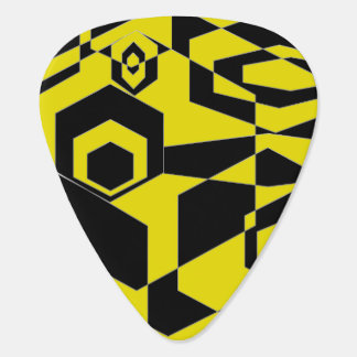 Retro Black and Yellow Abstract Guitar Pick