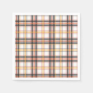 Retro Black, Brown & Orange Plaid Paper Napkins