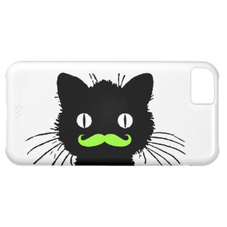 RETRO BLACK CAT FUNNY LIME GREEN MUSTACHE CASE FOR iPhone 5C