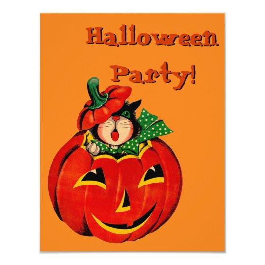 Retro Black Cat Halloween Party Invitations