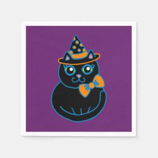 Retro Black Cat Halloween Party Napkins Disposable Napkins