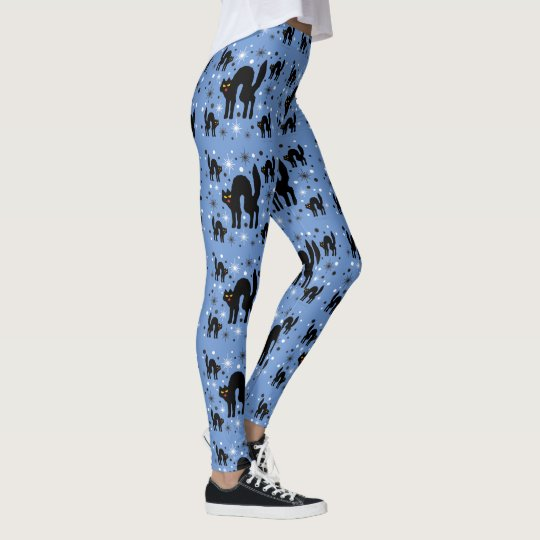 Retro Black Cats Fantasy with Starbursts on Blue Leggings